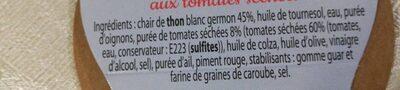 Rillettes de Thon Blanc aux tomates séchées - Ingredients