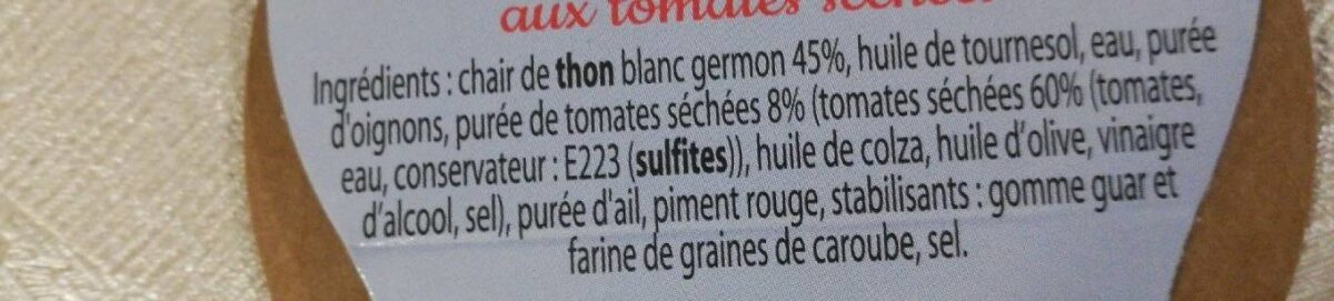 Rillettes de Thon Blanc aux tomates séchées - Ingrédients
