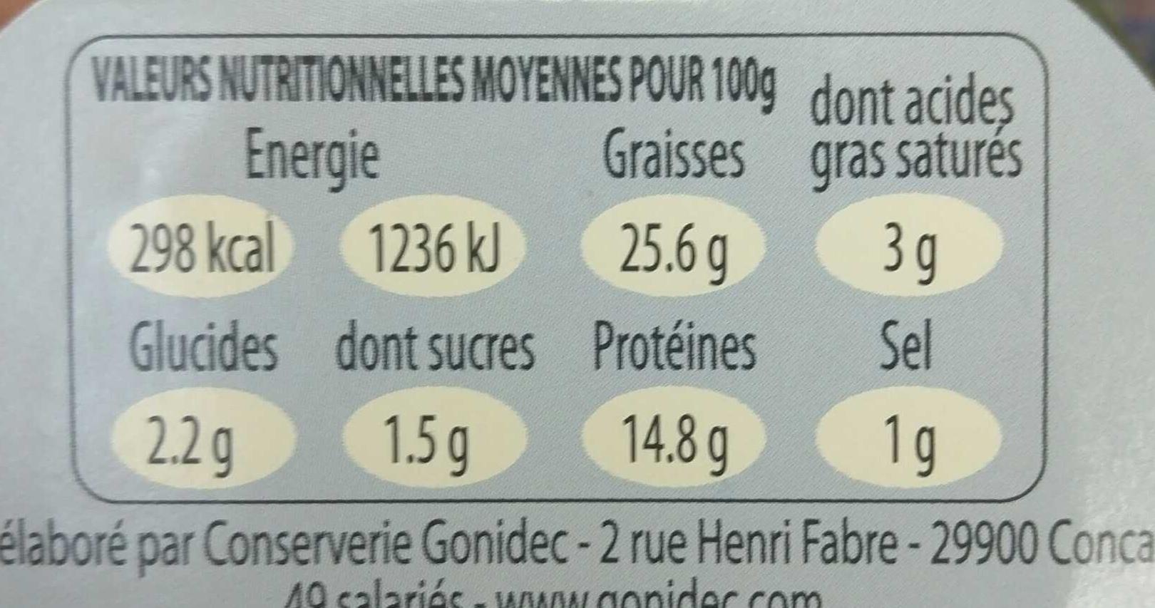 Rillettes de Thon Blanc aux tomates séchées - Informations nutritionnelles