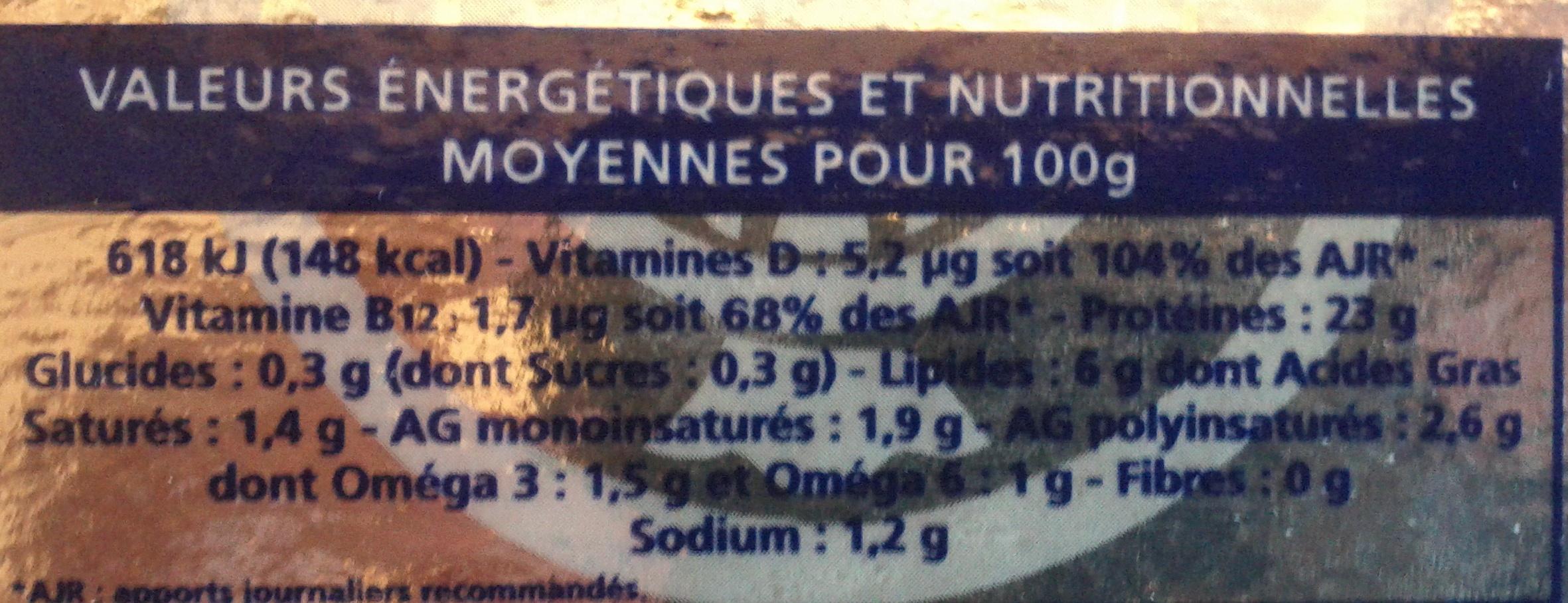 Truite fumée au bois de hêtre (6 tranches) - 150 g - Informations nutritionnelles - fr
