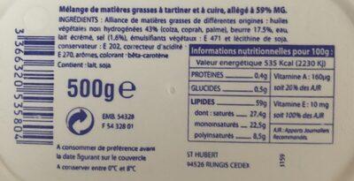 500G BQ Margarine Fleurier 1 / 2 Sel - Ingrediënten