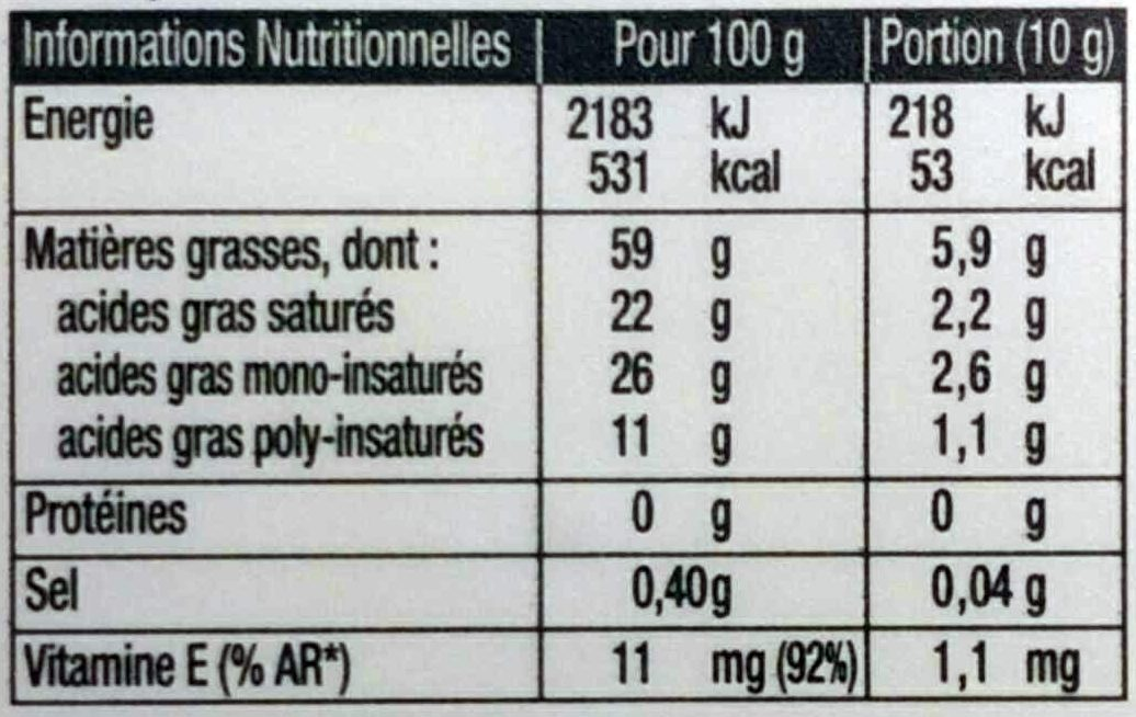 Tournolive (100 % Végétal) (60 % MG) - Nutrition facts