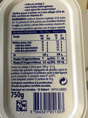 St Hubert Oméga 3 - Nutrition facts - fr