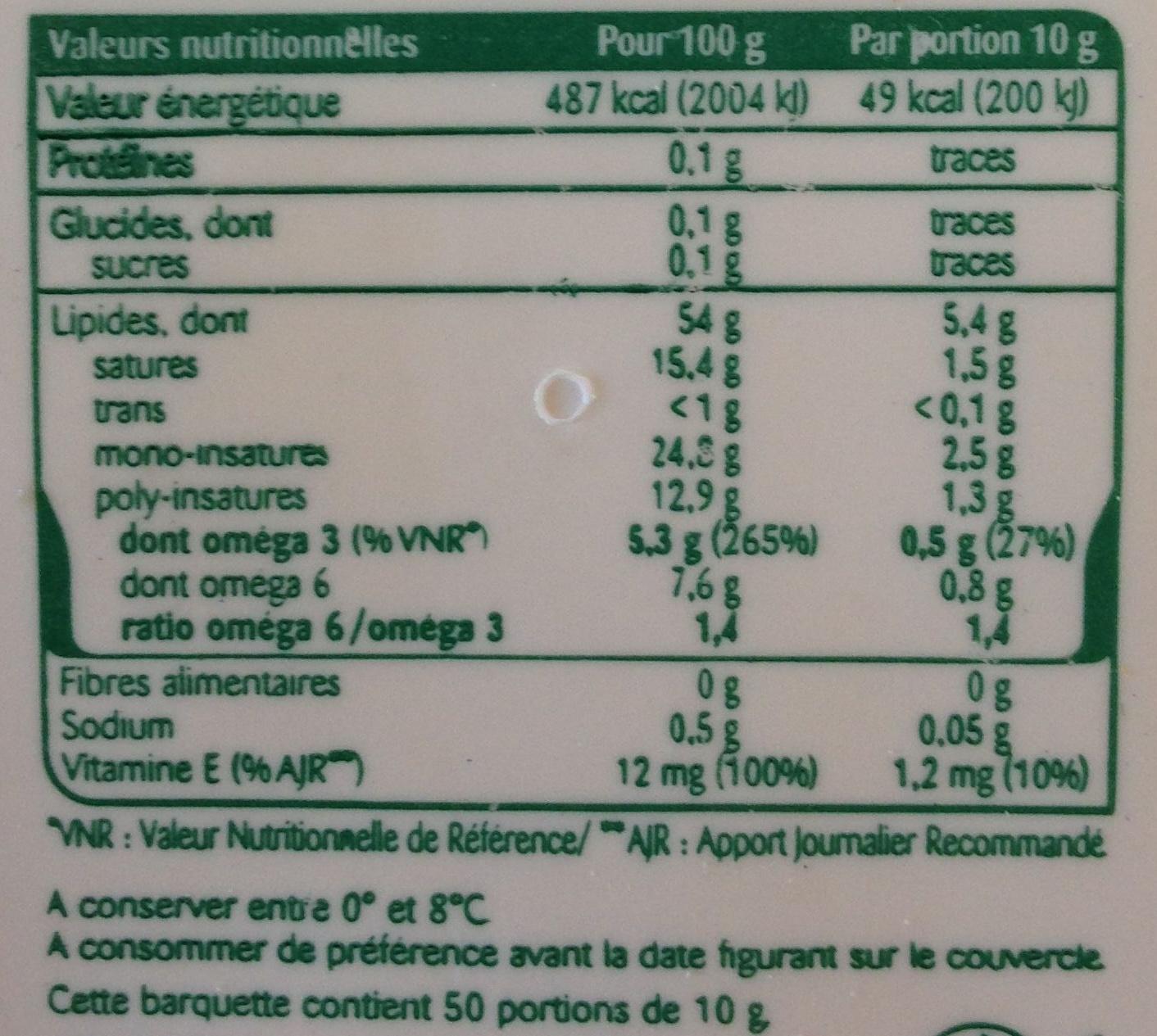 Oméga 3 sel de mer, Tartine et Cuisson - Informations nutritionnelles - fr