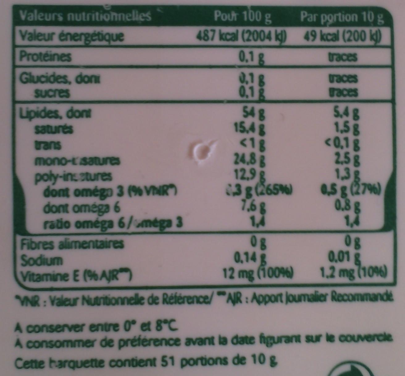 St Hubert Oméga 3 (Doux, Tartine et Cuisson), (54 % MG) - Nutrition facts