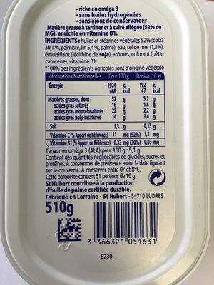 St Hubert Oméga 3 Demi-sel - Ingredients - fr