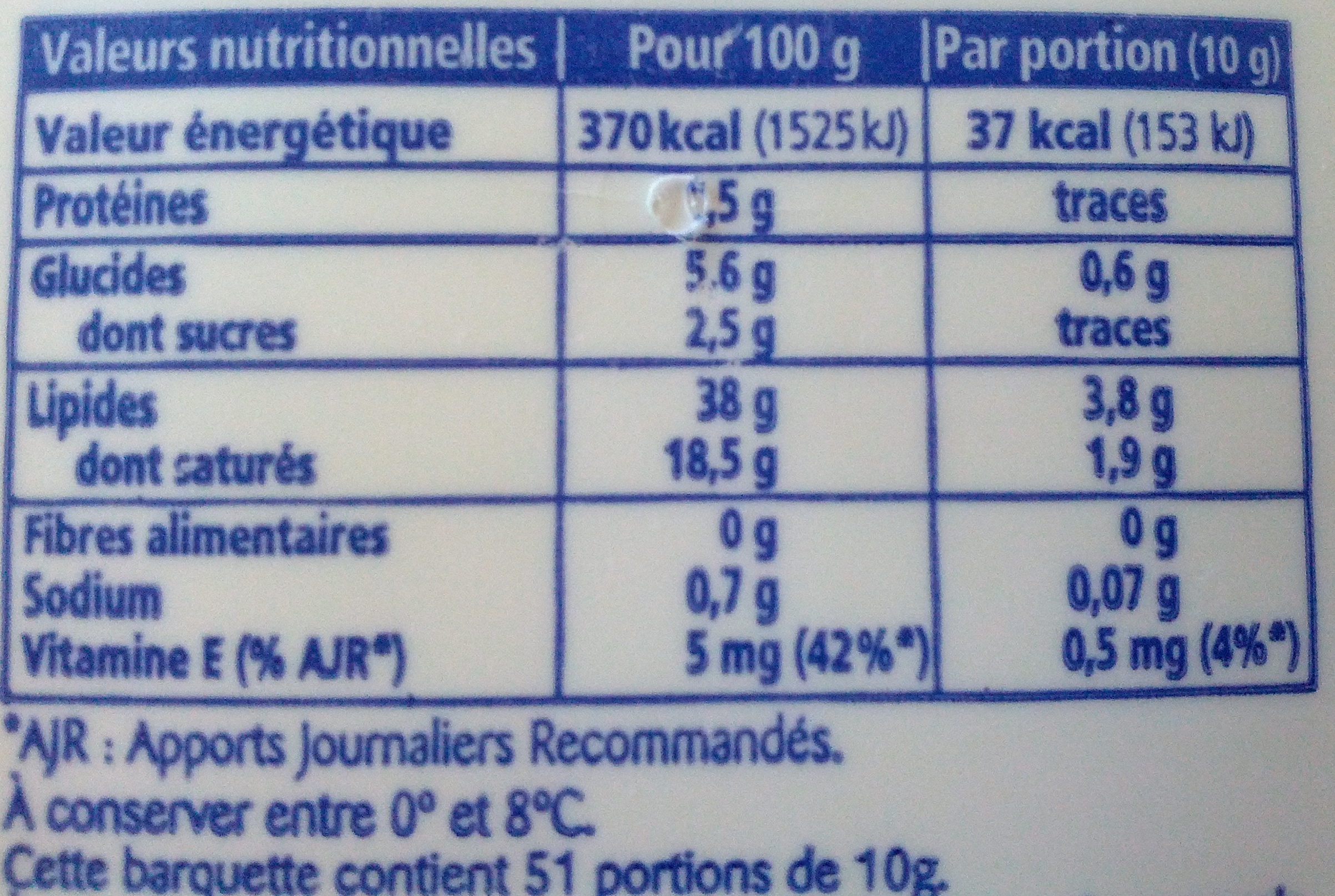 St Hubert 41 (Sel de Mer, Léger & tendre), (38 % MG) - Nutrition facts