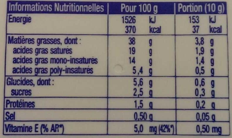 St Hubert 41 doux (38% m.g.) - Nutrition facts