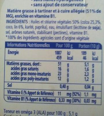 Oméga 3 Doux Tartine & Cuisson - Informations nutritionnelles - fr