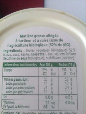Margarine bio - Ingrédients - fr