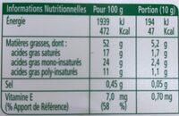 Margarine bio - Informations nutritionnelles - fr