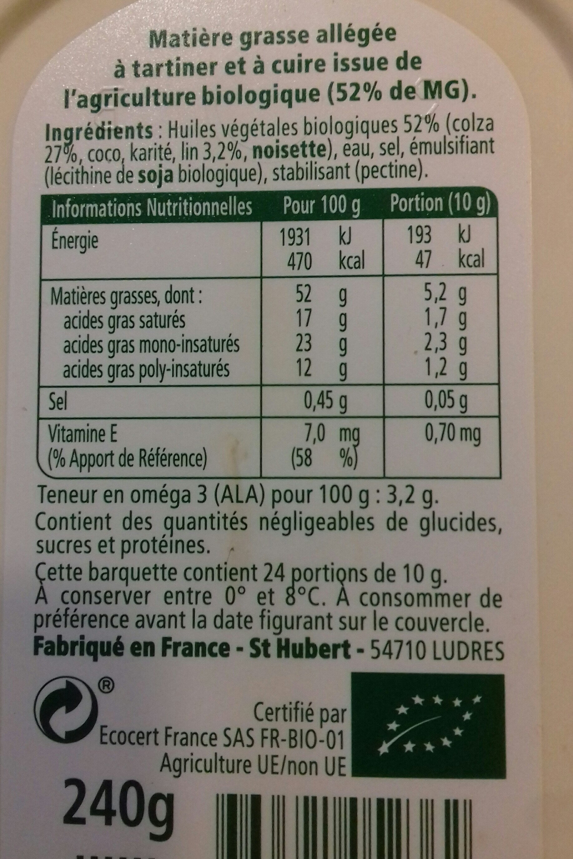 Omega 3 bio - Nutrition facts - fr