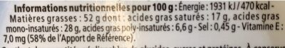 Margarine - Valori nutrizionali - fr