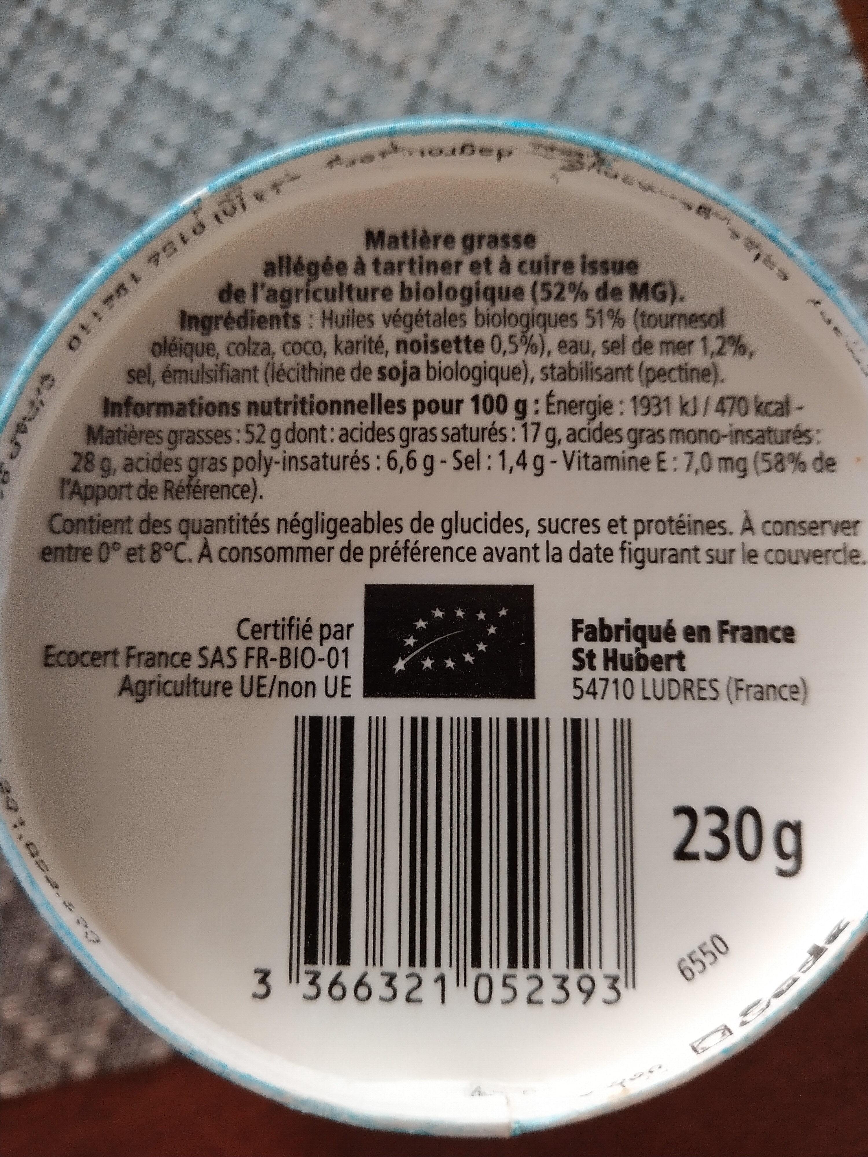 St Hubert Bio demi sel sans huile de palme - Valori nutrizionali - fr