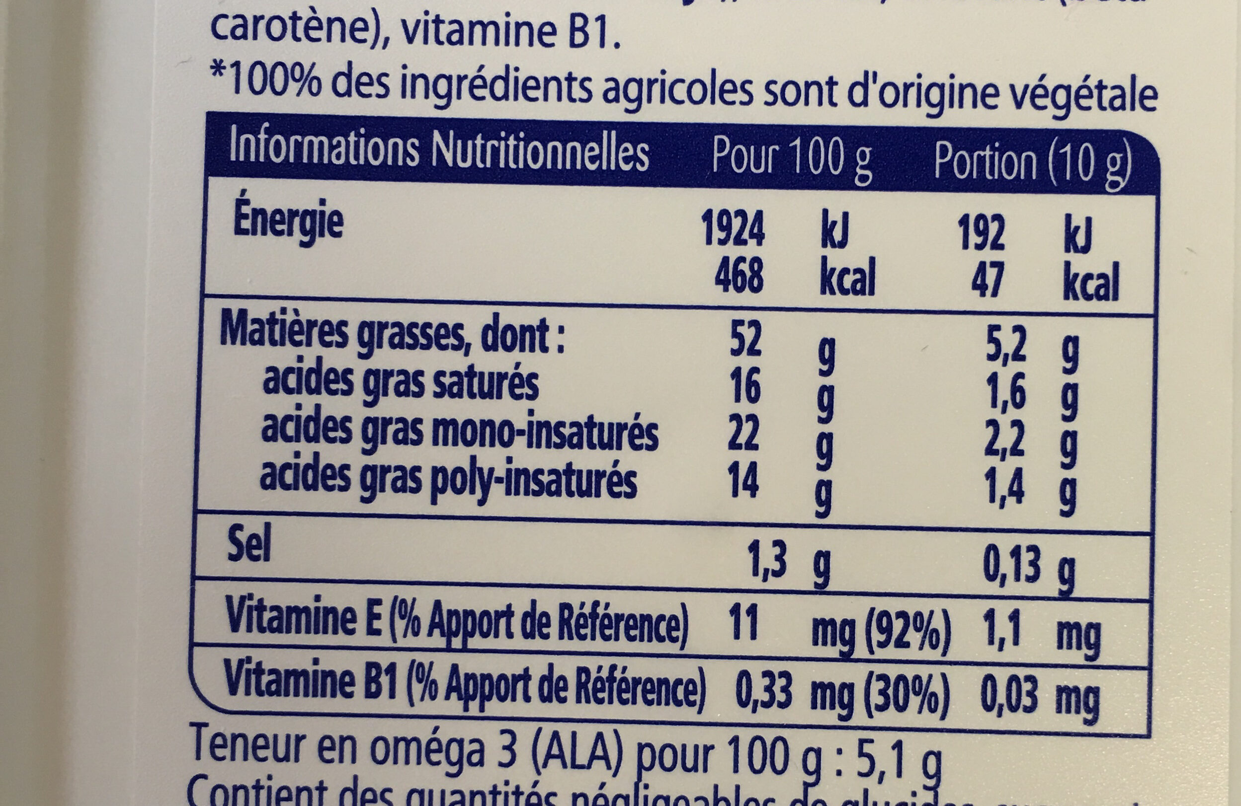 st hubert Omega 3 doux - Nutrition facts
