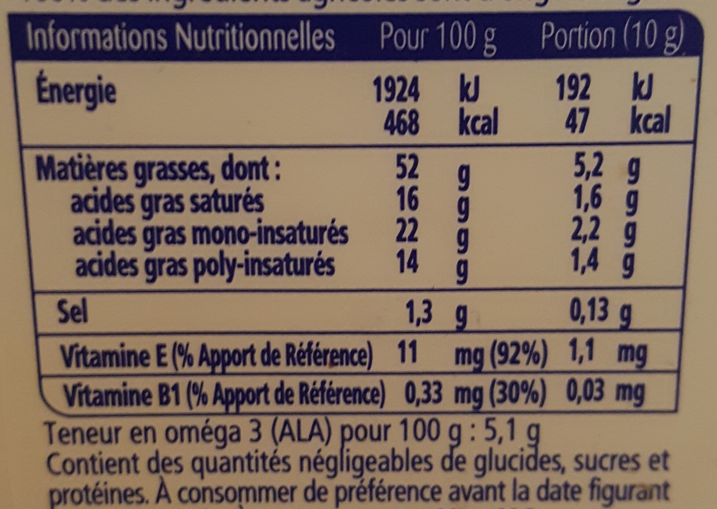 Oméga 3 demi-sel - Nutrition facts - fr