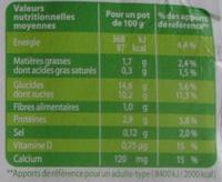 Les petits plaisirs Soja, Douceur Vanille - Informations nutritionnelles - fr