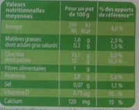 Les Petits Plaisirs Soja Vanille - Informations nutritionnelles - fr