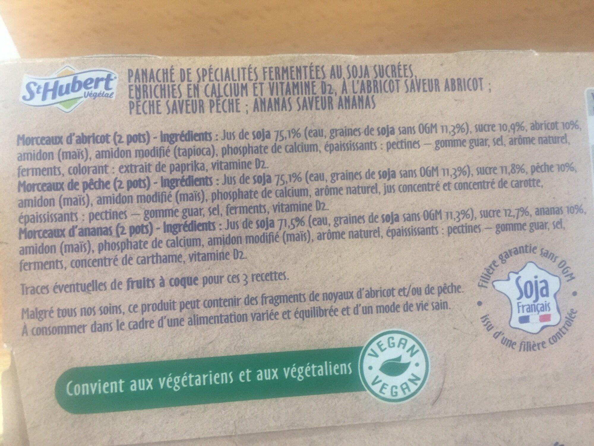 St Hubert Végétal Abricot, pêche & ananas - Ingredients - fr