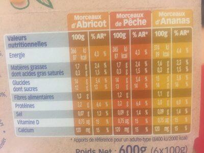 St Hubert Végétal Abricot, pêche & ananas - Nutrition facts - fr