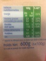 Nature bio - Informations nutritionnelles - fr