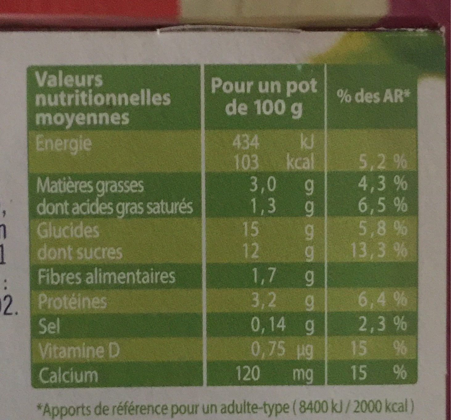 Liegeois soja chocolat - Nutrition facts