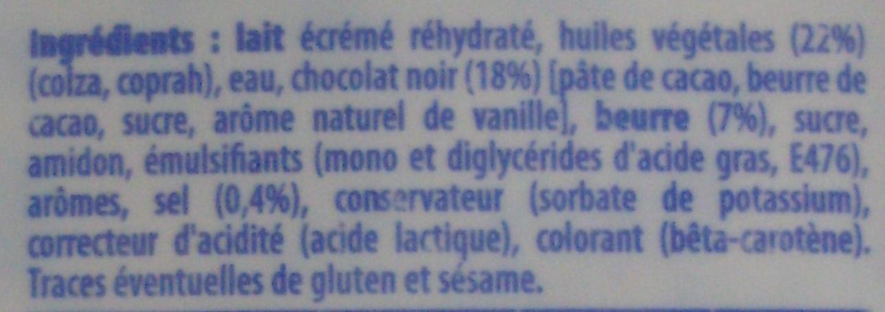 Pâte à tartiner à base de matières grasses allégées et de chocolat - Ingredients - fr