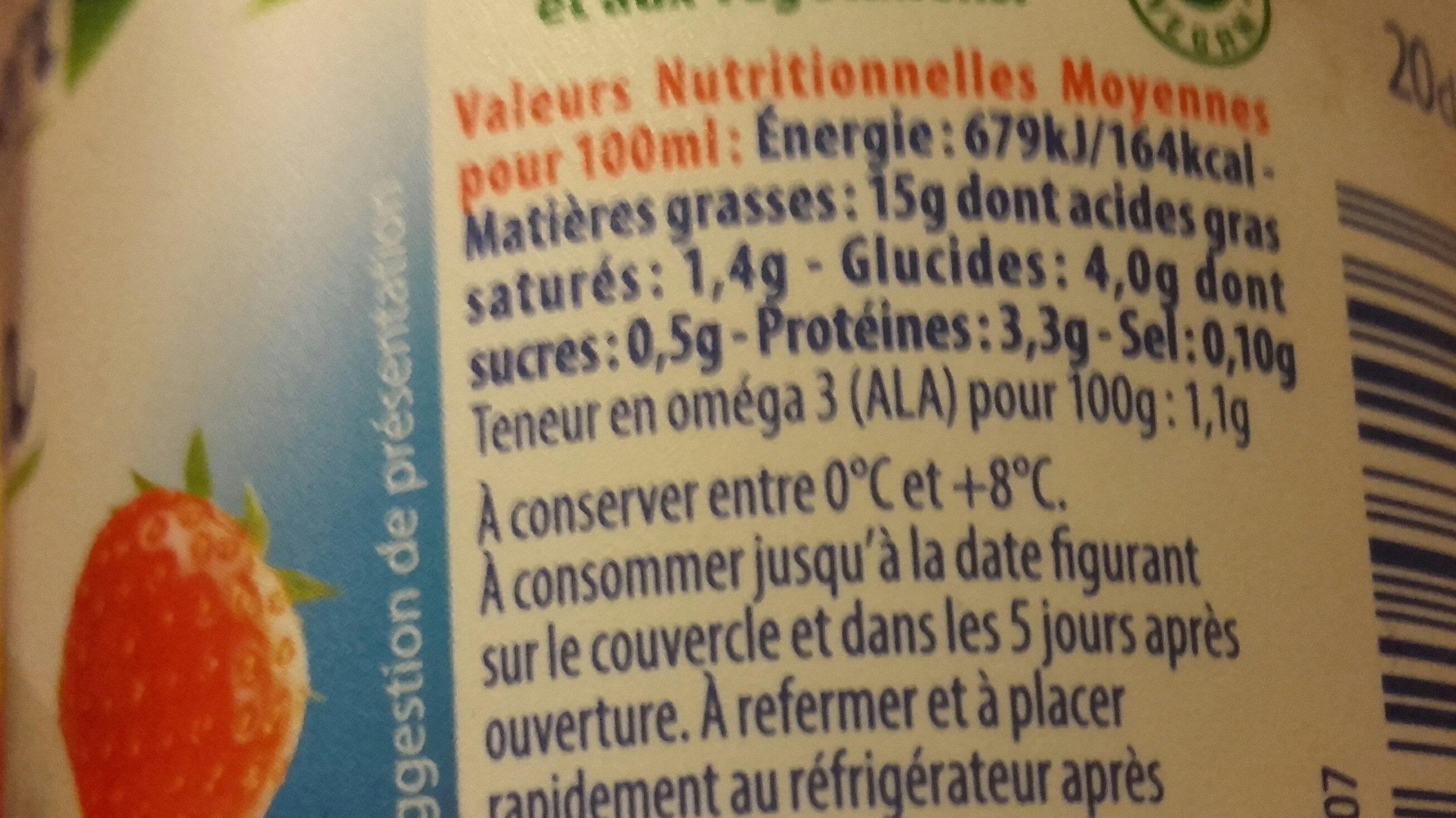 St Hubert Végétal Cuisine Soja - Informations nutritionnelles - fr