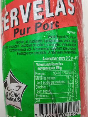 CERVELAS - Pur Porc - Ingrédients - fr