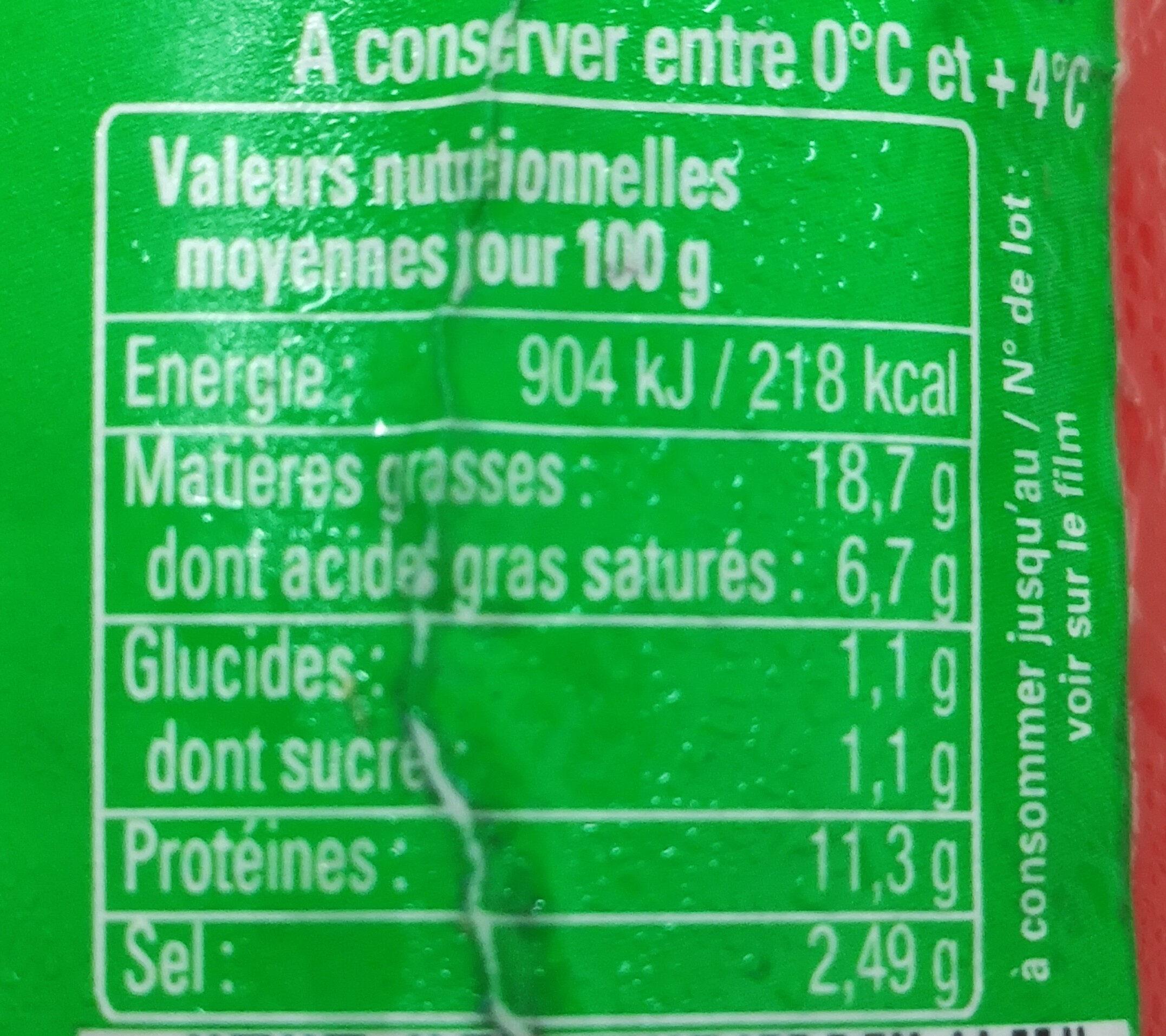 CERVELAS - Pur Porc - Informations nutritionnelles - fr