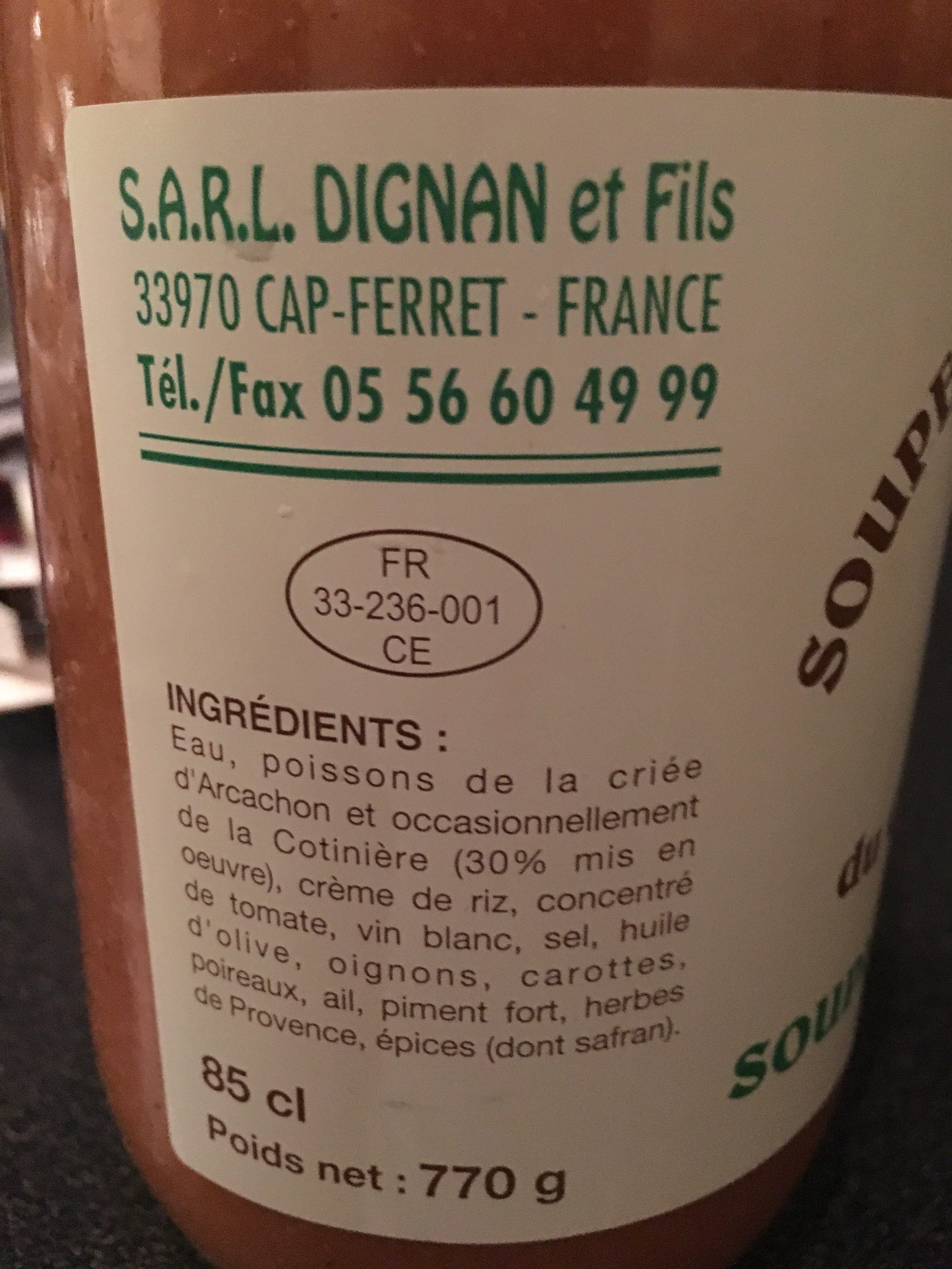 Soupe De Poissons Du Cap Ferret - Ingrédients - fr