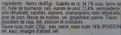 4 nems au porc + 1 sauce Nuoc Mam - Ingredients - fr