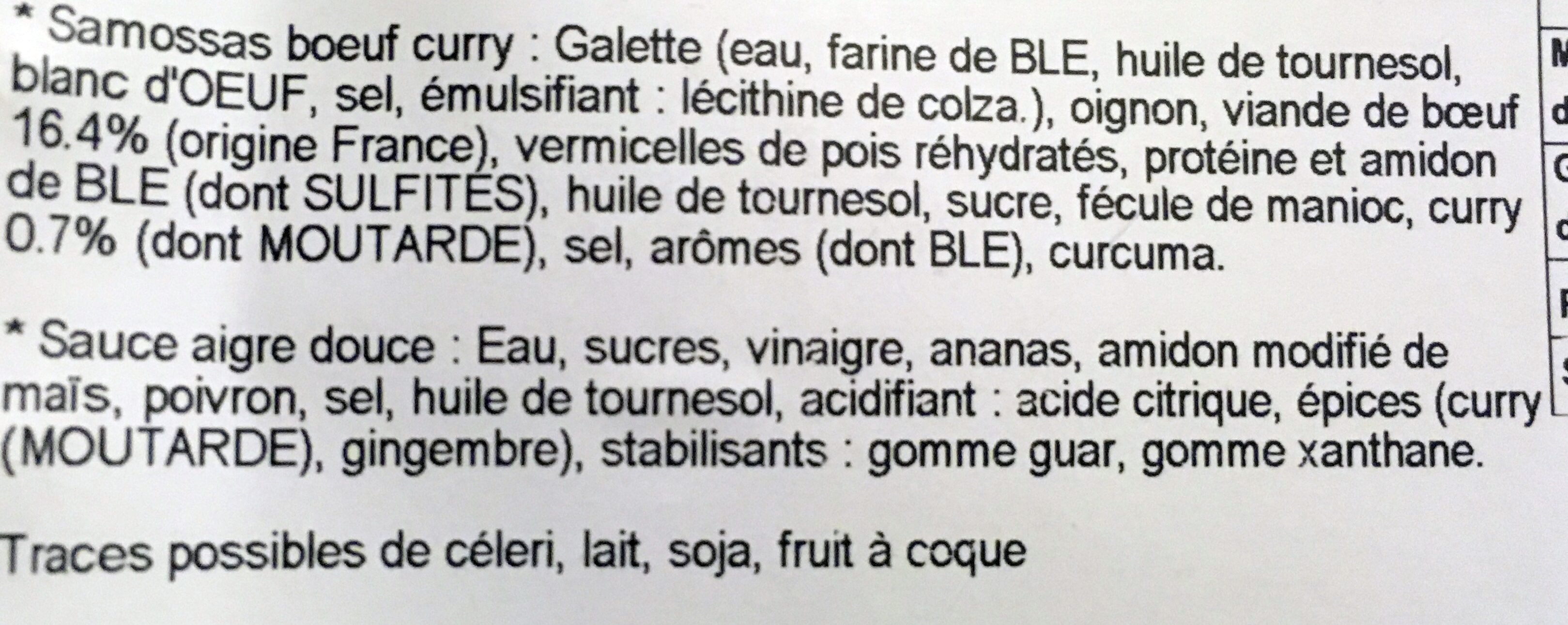 8 Samossas de Bœuf au Curry et Sauce Aigre Douce - Ingredients - fr