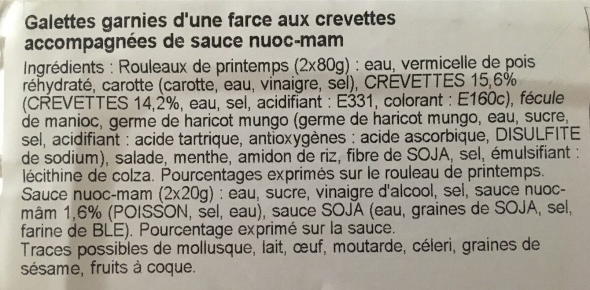 Rouleau de printemps - Ingredients - fr