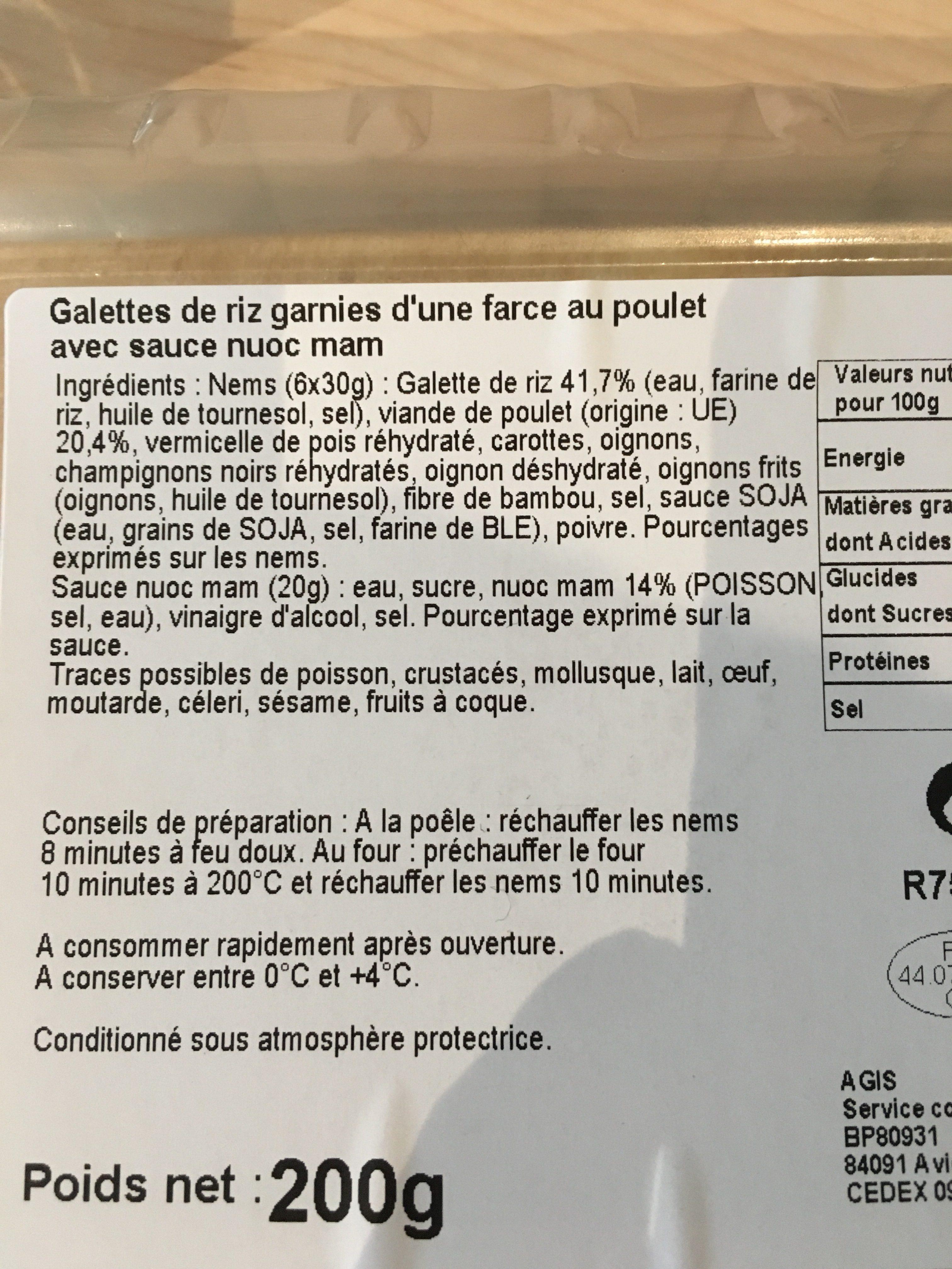 Mini nems poulet + sauce nuoc mam - Ingrédients - fr