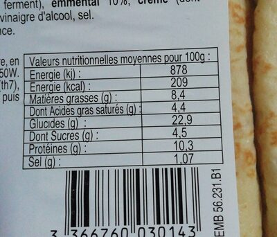 Crêpes jambon fromage - Informations nutritionnelles - fr