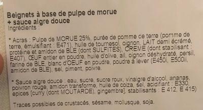 Acras à la morue + Sauce aigre douce - Ingrédients