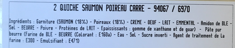 Quiches saumon & poireaux - Ingrediënten - fr