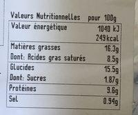 Quiches saumon & poireaux - Voedingswaarden - fr