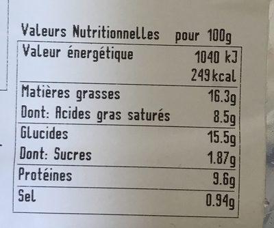 Quiches saumon & poireaux - Voedingswaarden