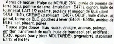 Acras de morue + sauce aigre douce - Ingredients