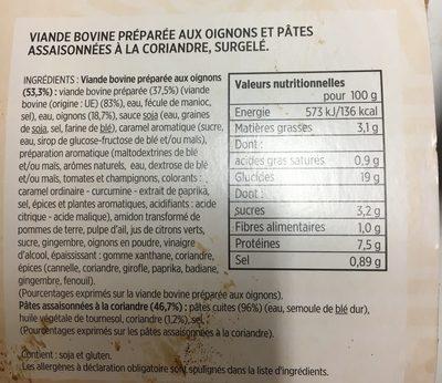 Boeuf aux oignons & nouilles chinoises sautées - Ingrédients - fr