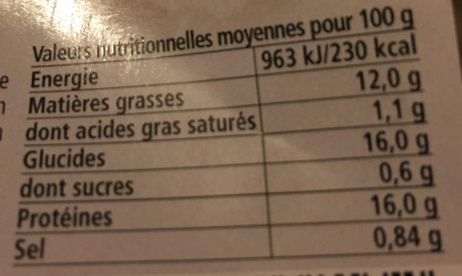 Tempuras de gambzd - Voedingswaarden - fr