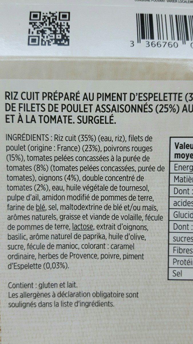 Poulet basquaise riz parfumé au piment despelette - Ingredients