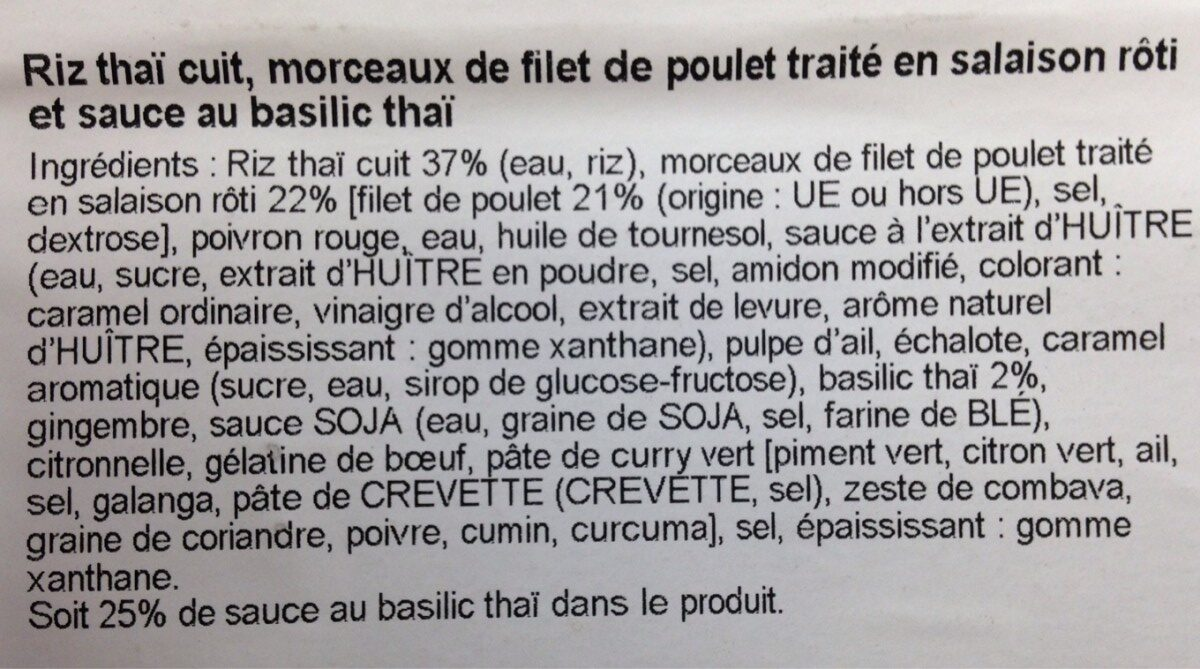 Poulet au basilic thaï - Ingredients - fr