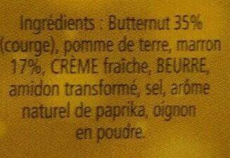 Écrasée au butternut et aux marrons - Ingrédients