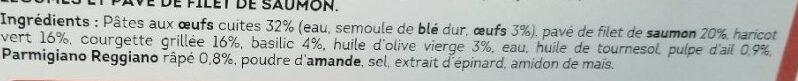 Pavé de Saumon et pâtes aux légumes verts - Ingrédients - fr