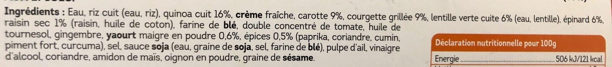 Tikka masala aux légumes, mélange de riz, quinoa et lentilles - Ingrédients - fr