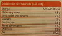Tikka masala aux légumes, mélange de riz, quinoa et lentilles - Informations nutritionnelles