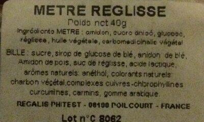 Mètre réglisse - Ingrédients